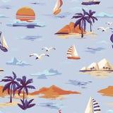 För ömodellen för tappning utformar det sömlösa landskapet med palmträd, yachten, stranden och den drog havhanden vektor illustrationer