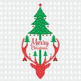 För önskahälsning för glad jul mall royaltyfri illustrationer