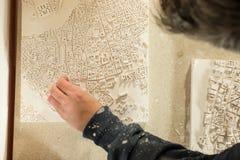 för översiktsmurbruk för stad 3D modell Being Detailed Royaltyfria Bilder