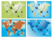 för översiktsroute för ariplane fyra värld Arkivfoto