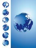 för översiktsserie för jordklot 3d värld vektor illustrationer