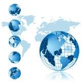 för översiktsserie för jordklot 3d värld Arkivbild