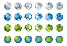 för översiktsserie för jordklot 3d värld Royaltyfria Bilder