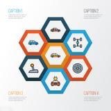 För översiktssymboler för bil färgrik uppsättning Samling av bil, elkraft, maskin och andra beståndsdelar Inkluderar också symbol stock illustrationer