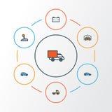 För översiktssymboler för bil färgrik uppsättning Samling av nivå, uppsamling, Cabriolet och andra beståndsdelar Inkluderar också vektor illustrationer