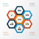 För översiktssymboler för bil färgrik uppsättning Samling av spår, sport, hätta och andra beståndsdelar Inkluderar också symboler royaltyfri illustrationer