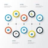För översiktssymboler för klimat färgrik uppsättning Samling av disigt stock illustrationer