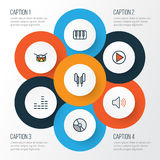 För översiktssymboler för musik färgrik uppsättning Fotografering för Bildbyråer
