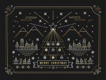 För översiktsträd för glad jul guld- stad för garnering royaltyfri illustrationer