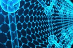 för abstrakt begreppnanoteknik för tolkning 3d närbild för form sexhörnig geometrisk, atom- struktur för begreppsgraphene, begrep Arkivfoton