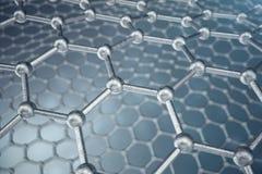 för abstrakt begreppnanoteknik för tolkning 3d närbild för form sexhörnig geometrisk, atom- struktur för begreppsgraphene, begrep stock illustrationer