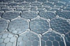 för abstrakt begreppnanoteknik för tolkning 3d närbild för form sexhörnig geometrisk, atom- struktur för begreppsgraphene, begrep vektor illustrationer