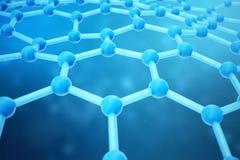 för abstrakt begreppnanoteknik för tolkning 3D närbild för form sexhörnig geometrisk Begrepp Graphene för atom- struktur, kol stock illustrationer