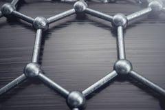 för abstrakt begreppnanoteknik för tolkning 3D närbild för form sexhörnig geometrisk Begrepp Graphene för atom- struktur, kol royaltyfri illustrationer