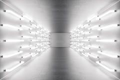 för abstrakt begrepprum för tolkning 3D inre med neonljus futuristic arkitekturbakgrund Modell för din design Royaltyfri Fotografi