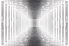 för abstrakt begrepprum för tolkning 3D inre med neonljus futuristic arkitekturbakgrund Modell för din design Fotografering för Bildbyråer