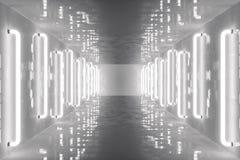 för abstrakt begrepprum för tolkning 3D inre med neonljus futuristic arkitekturbakgrund Modell för din design Arkivbild