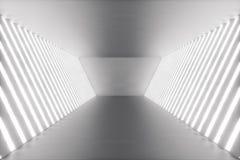 för abstrakt begrepprum för tolkning 3D inre med neonljus futuristic arkitekturbakgrund Modell för din design Royaltyfri Bild