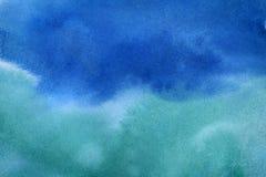 För abstrakt begreppvattenfärg för blå gräsplan bakgrund Royaltyfri Bild