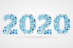 2020 för abstrakt begreppvektor för lyckligt nytt år illustration Blått bubblar symbol Dekorativt tecken med cirklar Royaltyfri Foto