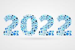 2022 för abstrakt begreppvektor för lyckligt nytt år illustration Blått bubblar symbol Dekorativt tecken med cirklar Arkivfoto