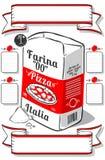 För advertizingmjöl för tappning hand dragen sida för pizza Royaltyfri Fotografi