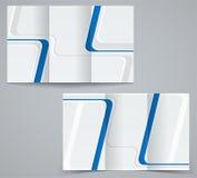 För affärsbroschyr för tre veck mall, företags reklamblad eller räkningsdesign i blåa färger Royaltyfri Foto