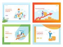 För affärsframgång för finansiell investering mall för sida för landning Mobilt marknadsföra startstrategibegrepp med tecken stock illustrationer
