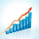 för affärsgraf för stång 3d tillväxt stock illustrationer