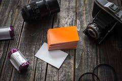 För affärskort för fotograf orange modell för identitet royaltyfria bilder