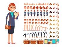 För affärskvinnavektor för tecknad film plan konstruktör för tecken med uppsättningen av kroppsdelar och olika handgester royaltyfri illustrationer