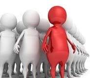 för affärslag för män 3d grupp med den röda individuella ledaren Arkivbild