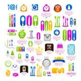 För affärslogo för kök fastställt tecken för symboler för rengöringsduk Arkivfoton