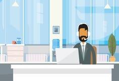 För affärsman för service indisk för Indien för skrivbord för sammanträde Office Working Place affärsman bärbar dator direktanslu stock illustrationer