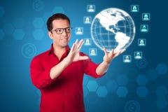 För affärsmarknadsföring för globalt nätverk lösning för manöverenhet Royaltyfri Bild