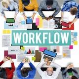 För affärsprocess för Workflow effektivt begrepp för tillvägagångssätt arkivfoto