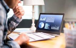 För affärsrapport för man läs- papper Bärbar dator med finansiella grafer arkivfoton