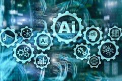 För affärsteknologier för konstgjord intelligens högteknologiskt begrepp Futuristisk serverrumbakgrund ai royaltyfri illustrationer