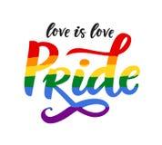 För affischregnbåge för glad stolthet flagga för spektrum, homosexualitet, jämställdhetemblem i retro stil royaltyfri illustrationer