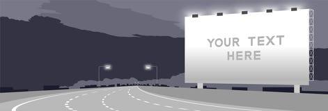För affischtavlaSignage för annonsering stor krökning för huvudväg eller för motorway på nattetidillustrationen vektor illustrationer