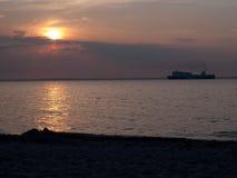 för aftonhav för höst baltisk solnedgång Royaltyfri Fotografi