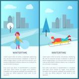 För aktivitetsvektor för vintertid barnslig illustration vektor illustrationer
