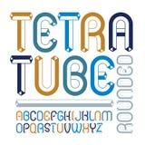 För alfabetbokstäver för vektor upper-case modern uppsättning Konstnärligt rundat Arkivfoton