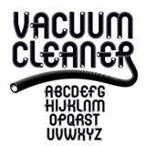 För alfabetbokstäver för vektor upper-case modern uppsättning Skraj rundad fon Arkivfoton