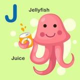 För alfabetbokstav för illustration djur J-manet, fruktsaft Fotografering för Bildbyråer