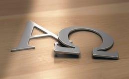 För alfabetiska och omega symboler royaltyfri illustrationer
