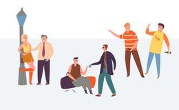 För alkoholnarkotikaberoende för folk dålig uppsättning för livsstil Drink för missbruk för ung man giftlig på gatan Kvinnaprosti stock illustrationer