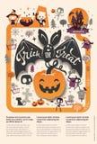 För allhelgonaaftonreklamblad för älskvärd ferie lycklig mall med det roliga och spöklika tecknad filmslagträet, pumpa och ställe royaltyfri illustrationer