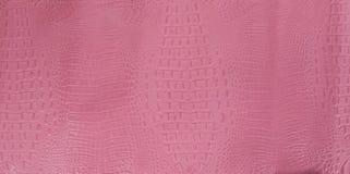 För alligatorläder för rosa färger brun präglad textur Arkivbilder