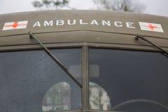 För ambulansUSA för tappning militär vindruta arkivfoton